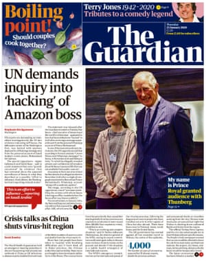 Guardian front page, Thursday 23 January 2020