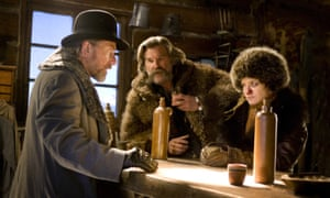 Tim Roth, Kurt Russell and Jennifer Jason Leigh in The Hateful Eight