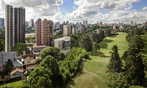 City view and urban park, Curitiba.