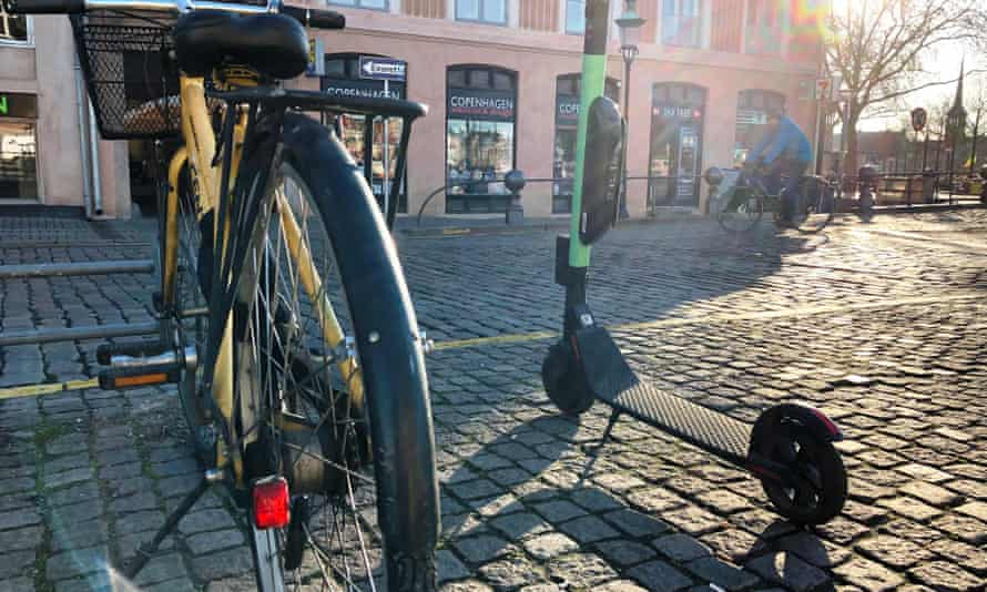 E-scooters now compete with bikes on the streets of Copenhagen.