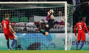 England's Joe Hart makes a save.
