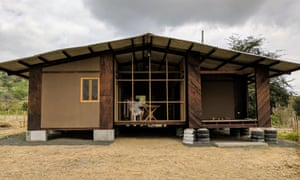 A one-storey housing prototype for use in rural Ecuador. The materials have been recycled from Habitat III, the UN conference on housing and sustainable urban development, held in Quito in October 2016.