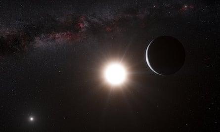 An artist's impression of a planet orbiting Alpha Centauri.