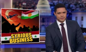 """Trevor Noah on Turkey's invasion of Syria: """"Thanks to Trump's impulsive decision, people are now fleeing Syria, the Turkish are now bombing the Kurds, and over 10,000 ISIS fighters could be back on the loose."""""""
