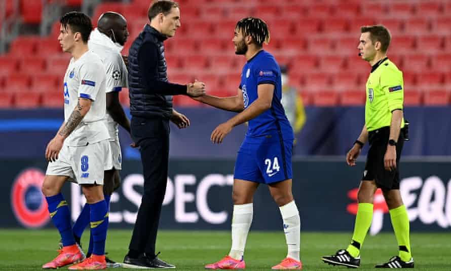 Thomas Tuchel congratulates Reece James after Chelsea reached the last four.