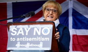 "Margaret Hodge MP addresses a ""say no to anti-semitism"" rally in Manchester."