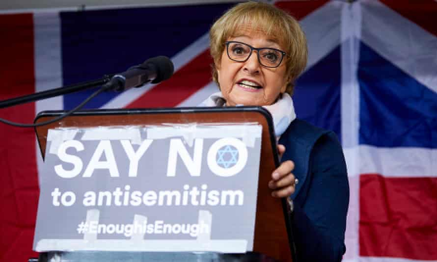 """Margaret Hodge MP addresses a """"say no to anti-semitism"""" rally in Manchester."""