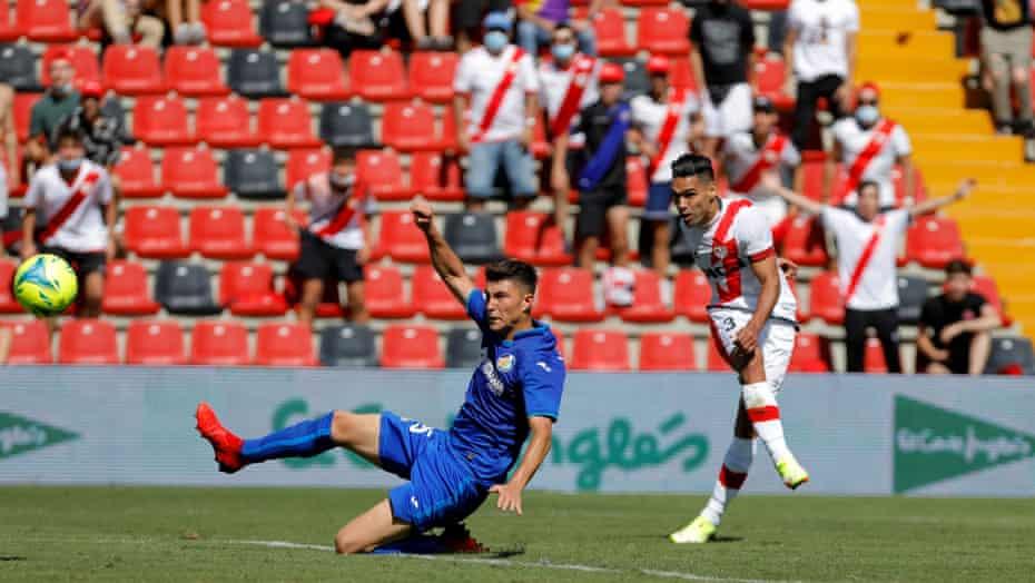 Falcao lashes the ball home against Getafe.