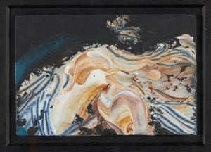 A swirling, highly  abstract nude in flesh tones on a midnight-blue background