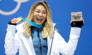 Gold medalist Chloe Kim of the US during the medal ceremony for the women's snowboard halfpipe event Tuesday.