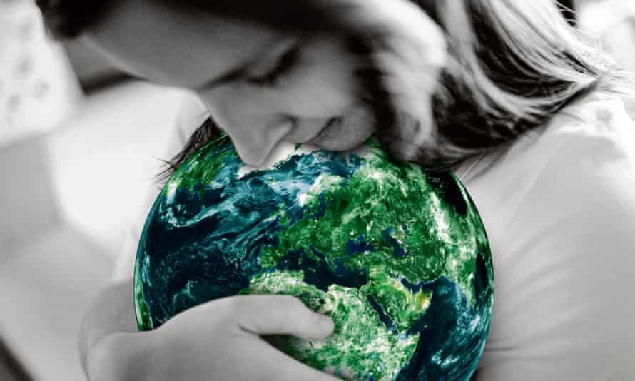 Woman cradling the globe