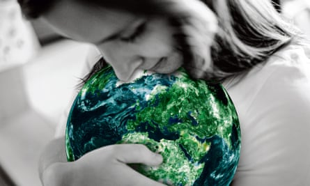 Woman cradling the globe