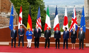 Donald Trump with other world leaders during the G7 summit on 26 May.