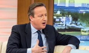 David Cameron on the Good Morning Britain sofa.