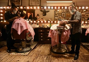 Manchester, UKCustomers get a last minute haircut and shave ahead of a second national lockdown