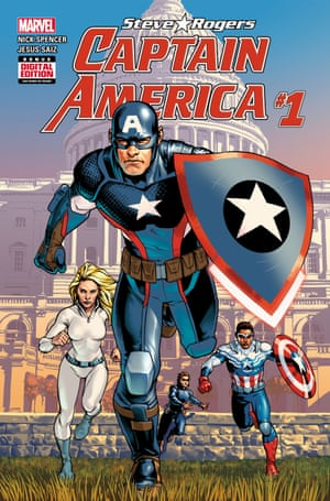 The cover of Steve Rogers: Captain America #1 by Nick Spencer and Jesus Saiz.