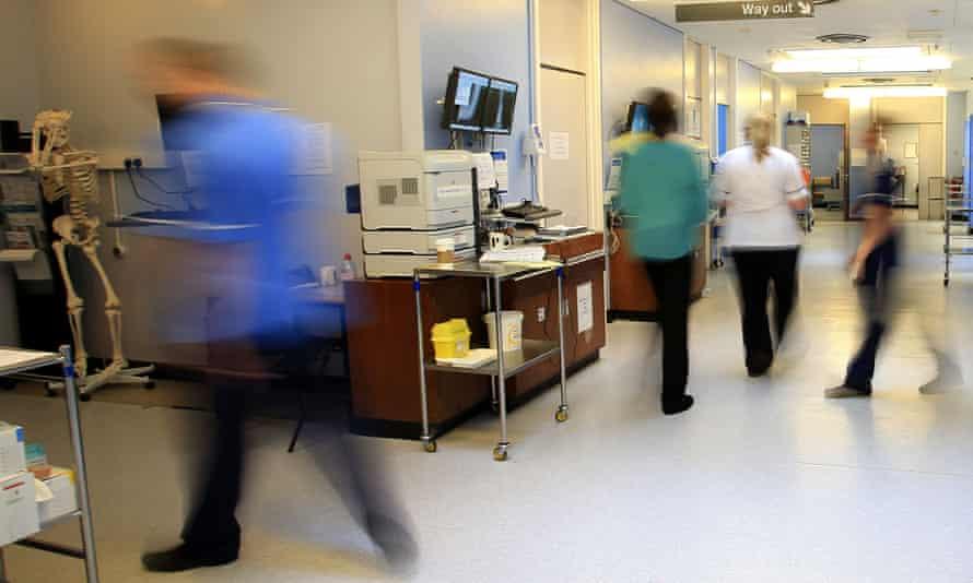 Staff on a busy NHS hospital ward