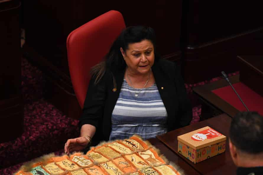 Outgoing Victorian treaty advancement commissioner Jill Gallagher is seen inside the Legislative Assembly during the First Peoples' Assembly of Victoria inaugural meeting on Monday.