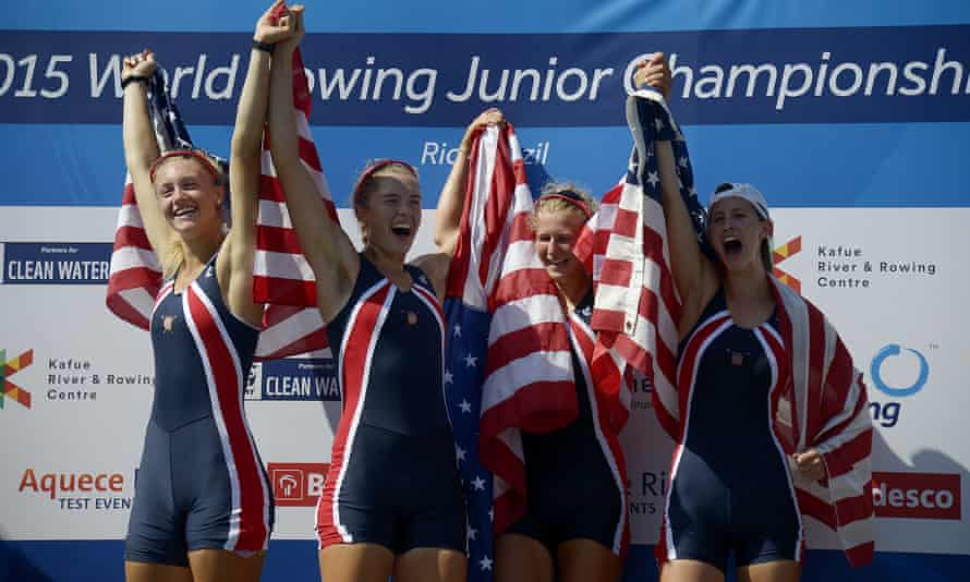 The US women's four celebrate victory at the world junior rowing championships