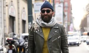 Biker jacket street chic during Milan fashion week last month.
