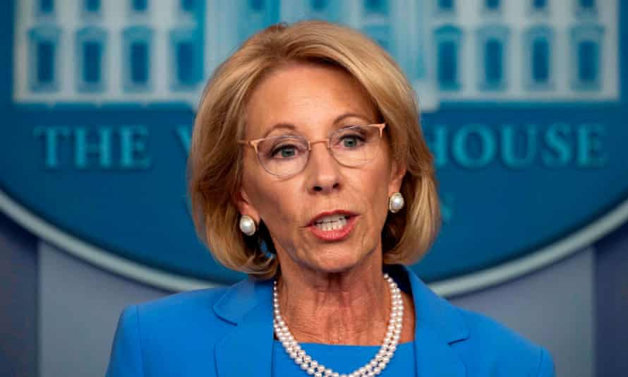 The US secretary of education, Betsy Devos, repeated Donald Trump's threat to pull funding from schools that do not reopen.