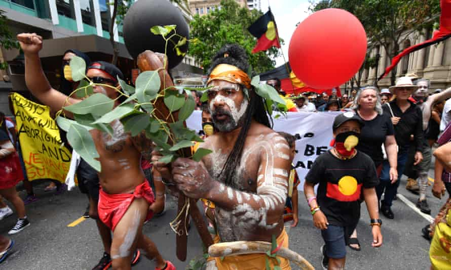 Protestors at an Invasion Day rally in Brisbane last year.