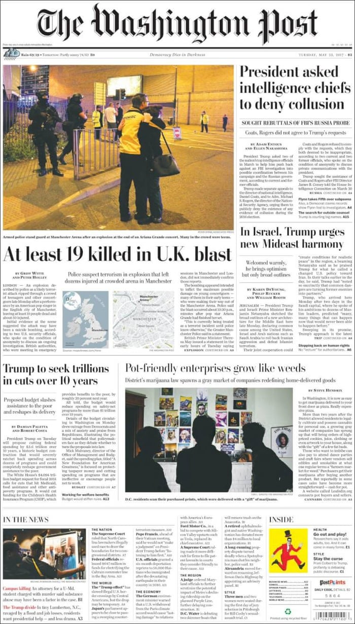 Manchester attack: front pages from around the world   UK