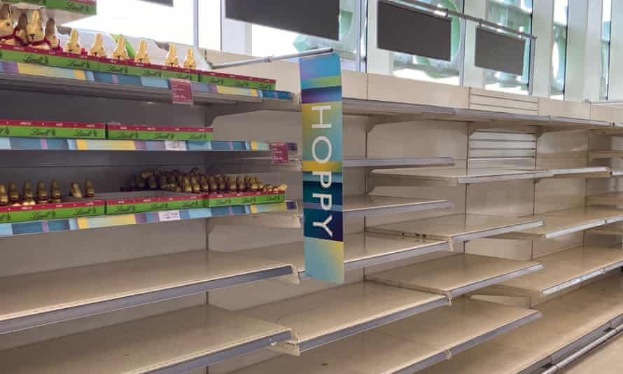 Empty Easter egg shelves in the Windsor branch of Waitrose.