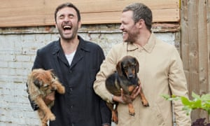 'Giggly listening': Homo Sapiens hosts Chris Sweeney, left, and Will Young