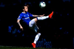 Everton's Bernard controls the ball as The Toffees beat Manchester United 4-0 at Goodison Park.