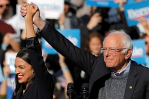 Alexandria Ocasio-Cortez with Senator and Democratic 2020 presidential candidate Bernie Sanders at his 'comeback' campaign rally in New York last weekend, not long after he suffered a heart attack while campaigning in Nevada.
