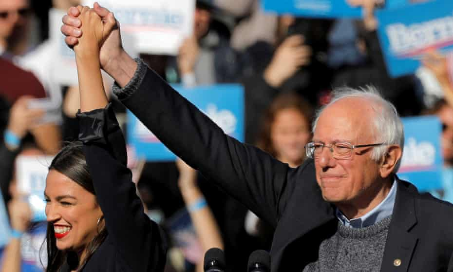 Alexandria Ocasio-Cortez and Bernie Sanders during the Bernie's Back rally in Queens, New York City, on 19 October.