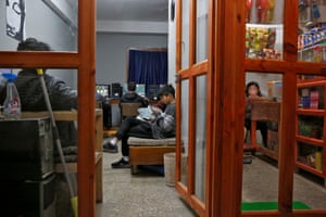 Young people gather in an internet gaming centre.
