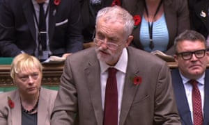 Jeremy Corbyn asking one his six questions at the despatch box.