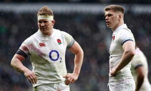 Dylan Hartley and Owen Farrell during England's defeat by Ireland at Twickenham in March 2018