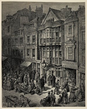 Bishopsgate Street ... Contemporary critics expressed reservations about the book when it came out. Doré disliked sketching in public so there were many errors of detail.