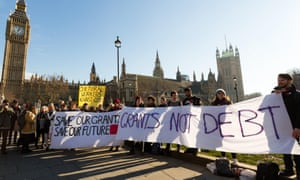 Students protest against cuts in Parliament Square in January.