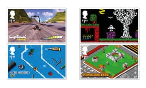 Four of the new stamps: Wipeout, Dizzy., Micro Machines and Populous.