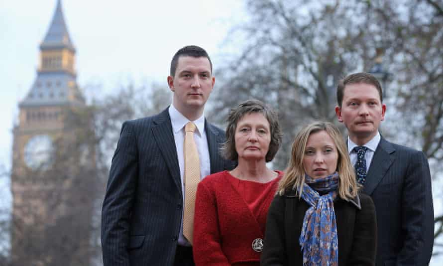 (Left to right) John Finucane, Geraldine Finucane, Katherine Finucane and Michael Finucane in Westmister in 2012.