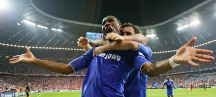 Chelsea's Didier Drogba celebrates with Juan Mata after scoring a goal against Bayern Munich in the 2012 Champions League final.