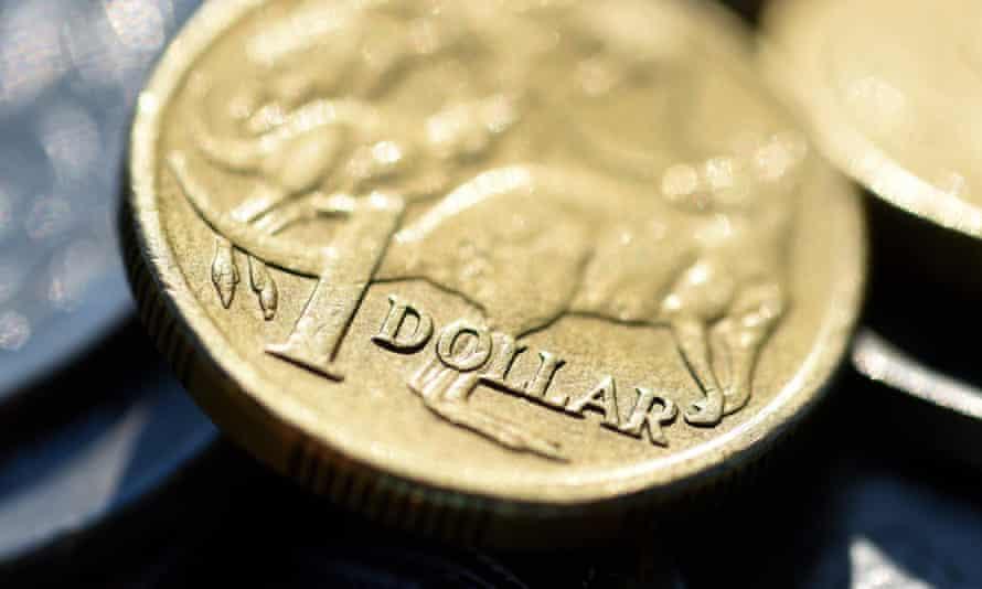The Australian dollar is seen among other Australian coins, 23 April 2015.