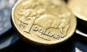 The Australian dollar is seen amongst other Australian coins