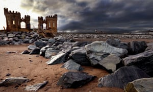 The Old Pier Towers at Withernsea in the East Riding of Yorkshire.