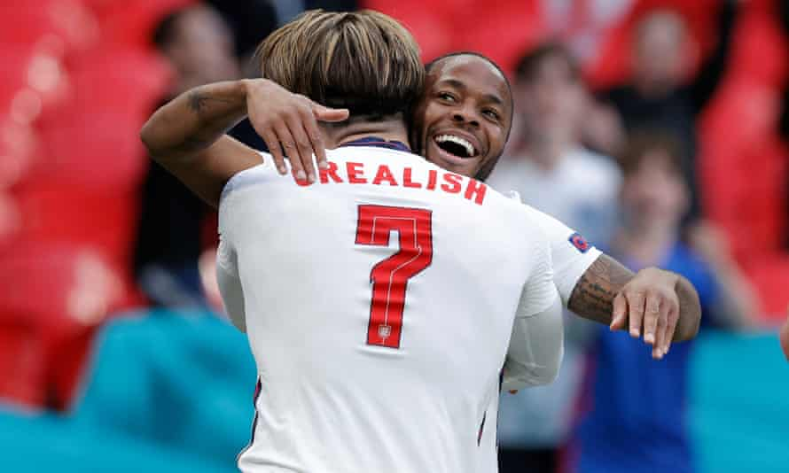 Raheem Sterling is congratulated by Jack Grealish after the Manchester City forward's goal in England's victory against the Czech Republic.
