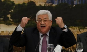 Mahmoud Abbas, the Palestinian leader, clenches fists while speaking to the PLO in Ramallah on  Sunday.