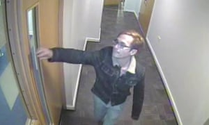 A CCTV still of Reynhard Sinaga leaving his flat in Manchester
