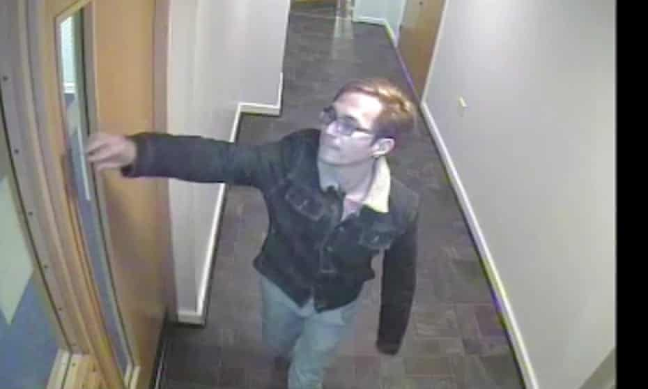 Reynhard Sinaga leaves his flat in Princess Street, central Manchester, where he committed dozens of rapes on men lured from outside nightclubs.