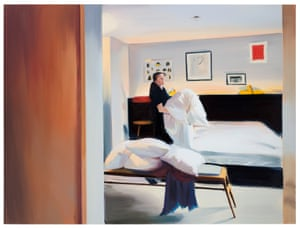 Bedding, Room 44, 2018, oil on linen, 180 x 240cm, a painting by artist Caroline Walker.