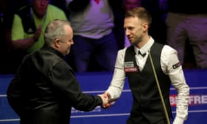 John Higgins (left) was unable to keep pace with Judd Trump's superb final display.