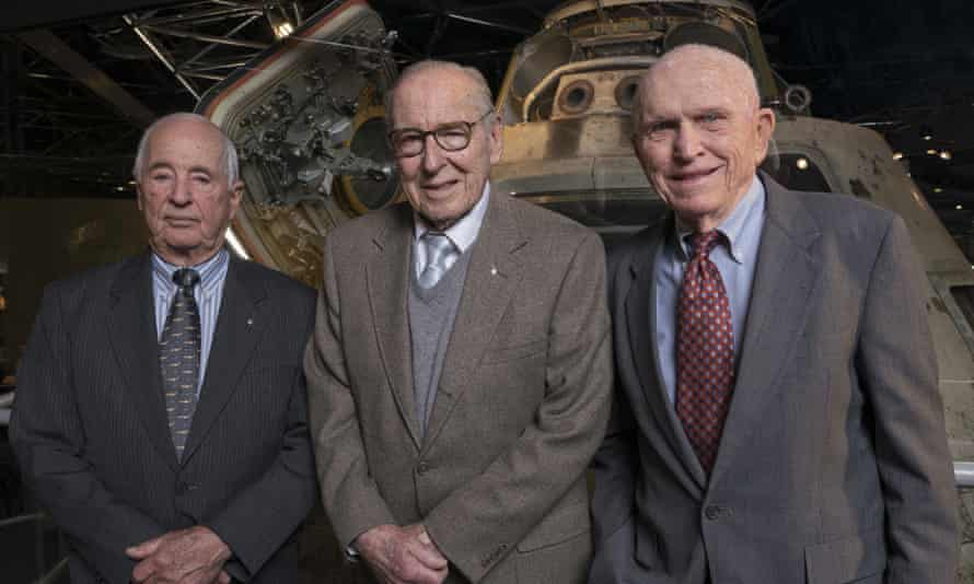 Apollo 8 crew, from left, William Anders, James Lovell, and Frank Borman, visiting the Museum of Science and Industry, Chicago, April 2018.